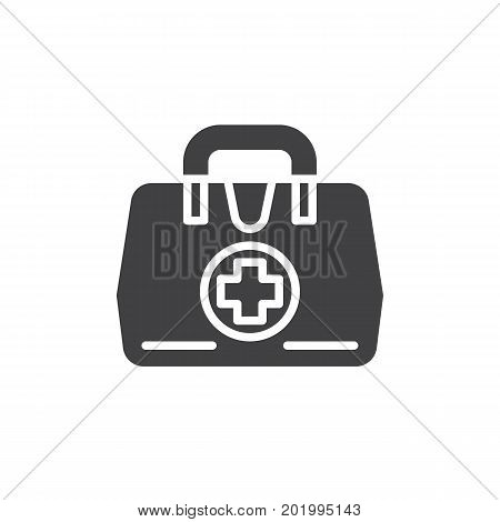 Medical bag icon vector, filled flat sign, solid pictogram isolated on white. First aid kit symbol, logo illustration. Pixel perfect vector graphics