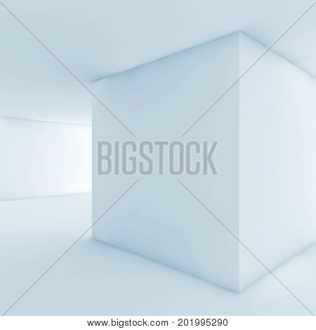 Abstract White Empty Interior With Cubic Column 3D