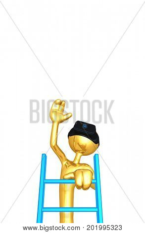 The Original 3D Character Illustration Wearing Virtual Reality Goggles Climbing A Ladder