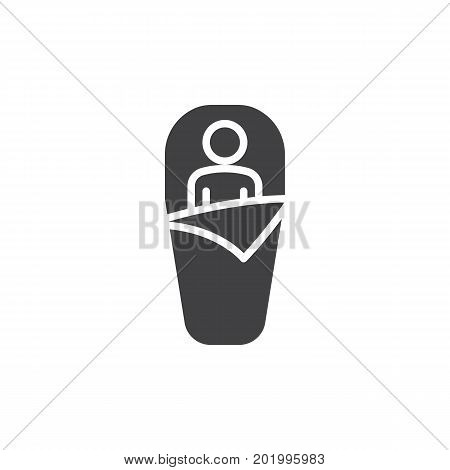Sleeping bag icon vector, filled flat sign, solid pictogram isolated on white. Symbol, logo illustration. Pixel perfect vector graphics