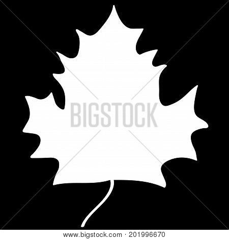 Maple leaf sign. White plane icon isolated on black background. Mono nature logo. Botany wood or garden symbol. Ecology flat silhouette. Foliage mark. Stock vector illustration