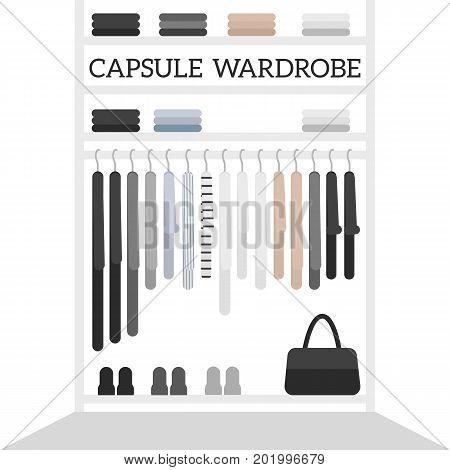 Vector flat illustration for magazines with women's closet. Minimalistic scandinavian style capsule wardrobe.