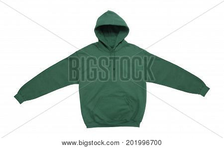 spread blank hoodie sweatshirt color green front view on white background