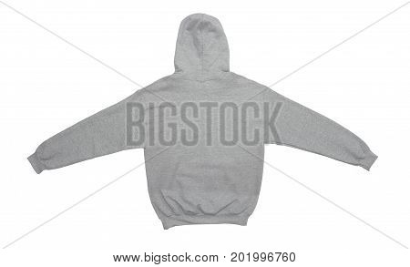 spread blank hoodie sweatshirt color grey back view on white background