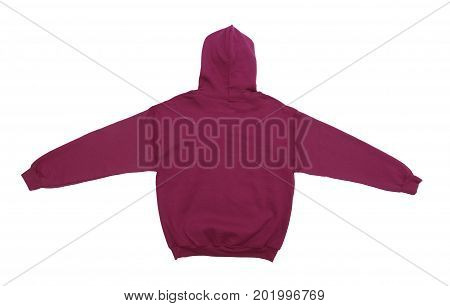 spread blank hoodie sweatshirt color maroon back view on white background