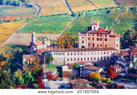 Autumn landscape - famous wine region in Piedmont. Barolo castle