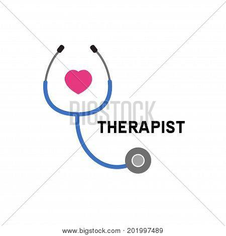 Logo doctor. Icon therapist cardiologist. Stethoscope. Vector illustration