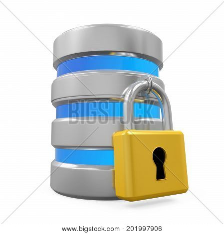 Database Icon and Lock isolated on white background. 3D render