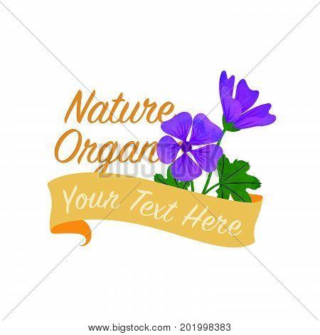 Colorful Watercolor Texture Vector Nature Botanic Garden Flower Banner Violet Mallow