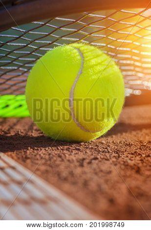 tennis ball on a tennis court, close up