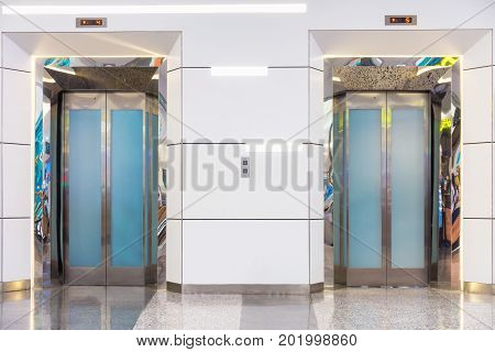 Two elevator in department store with decorative interior Building elevator.
