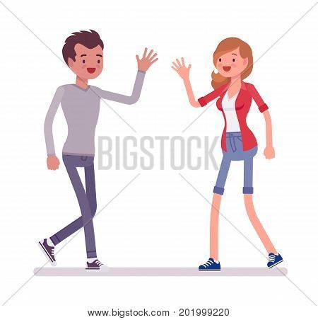 Young man and woman meeting. Waving hello for invitation, inspiration, making friends with a co-worker. Social communication concept. Vector flat style cartoon illustration, isolated, white background