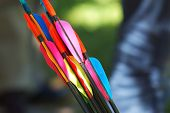 Archery arrows with colorful feather (business target concept) poster