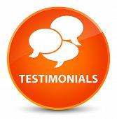 Testimonials (comments icon) isolated on elegant orange round button abstract illustration poster