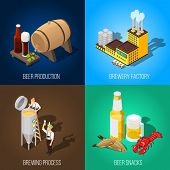 Isometric beer production and salty snacks 2x2 concept isolated on colorful backgrounds 3d vector illustration poster