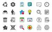 Recycle bin icons. Reuse or reduce symbols. Human throw in trash can. Recycling signs. Chat, Report and Calendar signs. Stars, Statistics and Download icons. Question, Clock and Globe. Vector poster