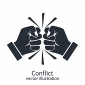 Conflict concept black silhouette. Two fists clenched in a dispute. Disagreements of businessmen. Business conflict pictogram, debate. Vector design. Isolated on white background. poster