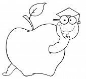 Outlined Happy Student Worm In An Apple poster