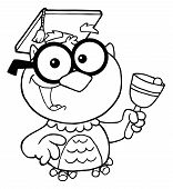 Outlined Owl Teacher With Graduate Cap And Bell poster