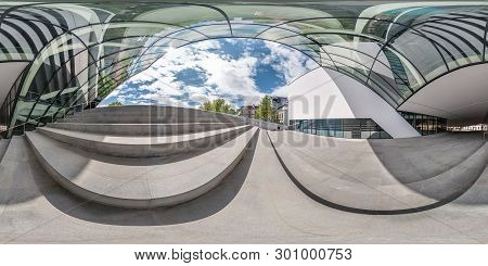 Vilnius, Lithuania - May, 2019: Full Spherical Seamless Panorama 360 Degrees Angle Near Facade Of Cr