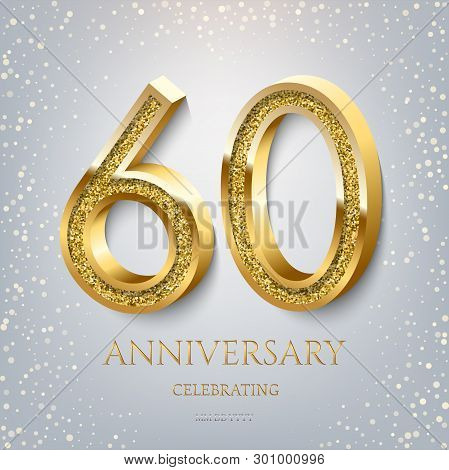 60th Anniversary Celebrating Golden Text And Confetti On Light Blue Background. Vector Celebration 6