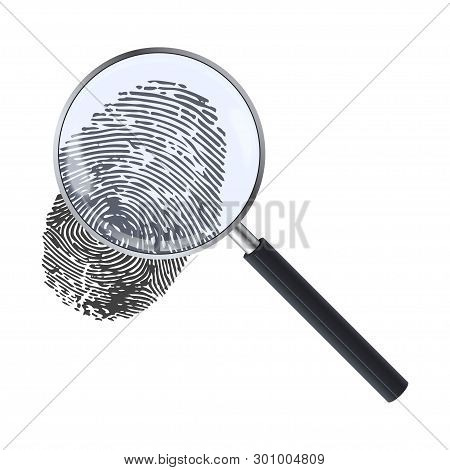 Realistic Magnifying Glass And Fingerprint. Fingerprint Under A Magnifier. Template Design Of Explor