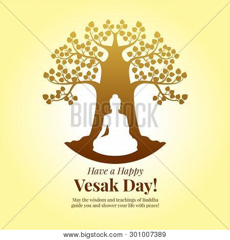 Happy Vesak Day - Buddha Meditation Under Bodhi Tree Sign On Yellow Background Art Vector Design