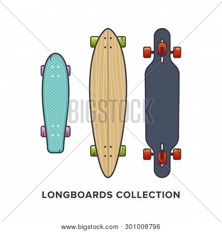 Longboards Collection - Cruiser, Downhill, Drop Through, Carving. Vector Illustration In Flat Style.