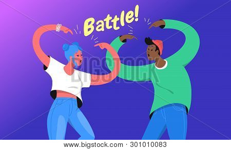 Rap Or Dance Battle Concept Vector Illustration Of Two Young Teenagers Standing Together And Gesturi