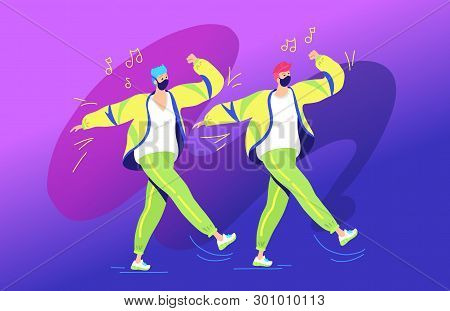 Shuffle Dance Concept Vector Illustration Of Two Young Teenagers Dancing Together And Gesturing Hand