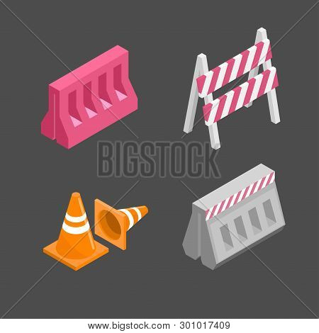 Set Traffic Barriers Vector & Photo (Free Trial) | Bigstock