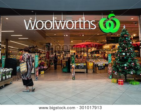 Melbourne, Australia - December 9, 2018: Woolworths Is A Large Australian Supermarket Chain. This St