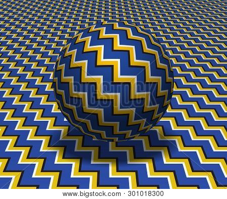 Sphere Hovers Above The Surface. Abstract Objects With Zigzag Stripes Pattern. Vector Optical Illusi