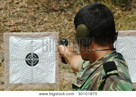 Military training combat - pistol shoot