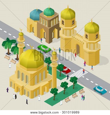 Vector Cityscape In Arabian Style. Set Of Isometric Buildings, Mosque, Minarets, Fortress Gate, Road