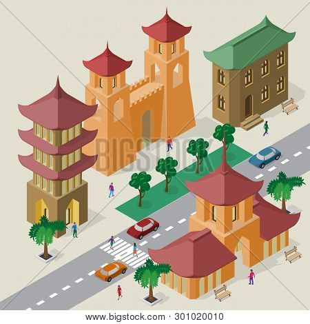 Vector Cityscape In East Asia Style. Set Of Isometric Buildings, Pagoda, Fortress Gate With Towers,