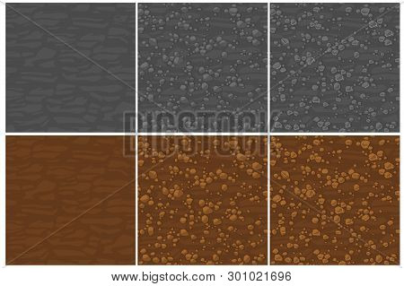 Seamless Texture Ground With Small Stones, 3 Step Drawing.. Cute Seamless Pattern Stones. Cartoon Se