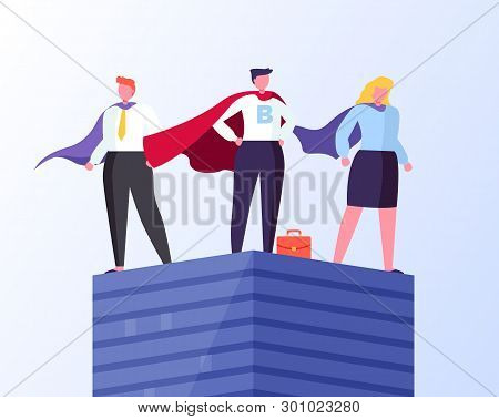 Heroes In Business Vector, Man And Woman Wearing Formal Suit And Cloaks Flat Style. Businessman And