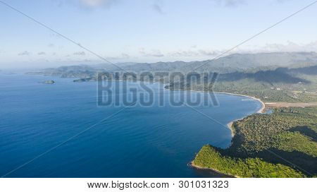 Seascape With Islands. Blue Sea And Large Islands. Big Island With Woodland. Philippines, El Nido