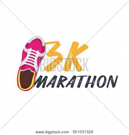 3k Marathon Run Event With Sneakers. Vector Illustration.
