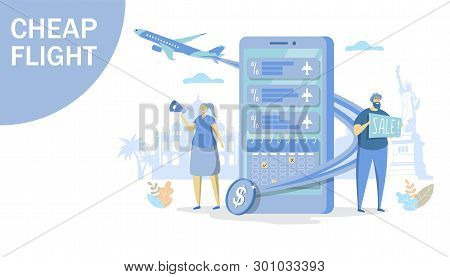 Cheap Flight Vector Concept For Web Banner, Website Page