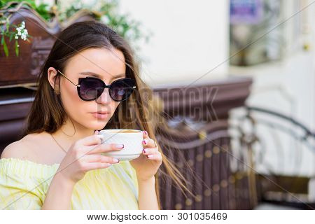Girl Relax In Cafe. Business Lunch. Morning Coffee. Waiting For Date. Good Morning. Breakfast Time.