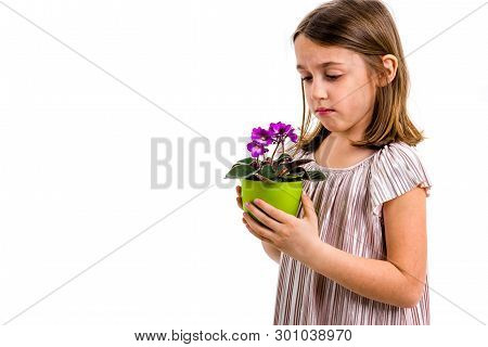 Sad Young Little Girl Holding Flower Pot Mourning Family Loss.