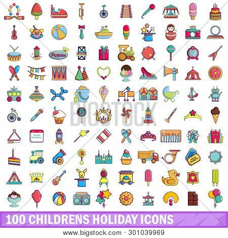 100 Childrens Holiday Icons Set. Cartoon Illustration Of 100 Childrens Holiday Icons Isolated On Whi