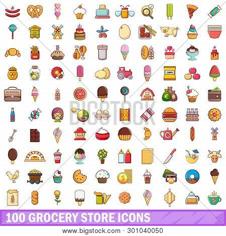 100 Grocery Store Icons Set. Cartoon Illustration Of 100 Grocery Store Icons Isolated On White Backg