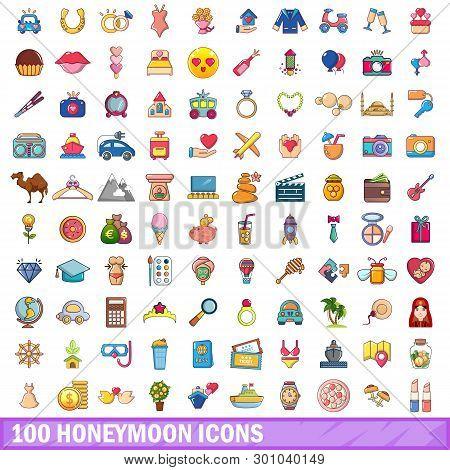 100 Honeymoon Icons Set. Cartoon Illustration Of 100 Honeymoon Icons Isolated On White Background