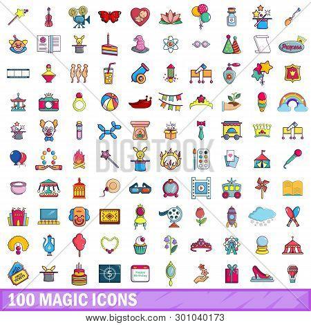 100 Magic Icons Set. Cartoon Illustration Of 100 Magic Icons Isolated On White Background