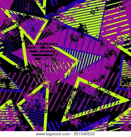 Urban Art Sport Abstract Vector Seamless Pattern With Geometric Elements, Chaotic Lines, Triangles,