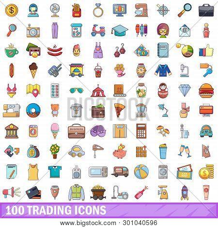 100 Trading Icons Set. Cartoon Illustration Of 100 Trading Icons Isolated On White Background