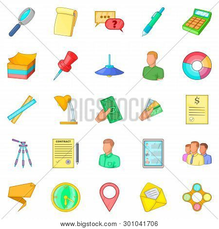 Coworking Space Icons Set. Cartoon Set Of 25 Coworking Space Icons For Web Isolated On White Backgro
